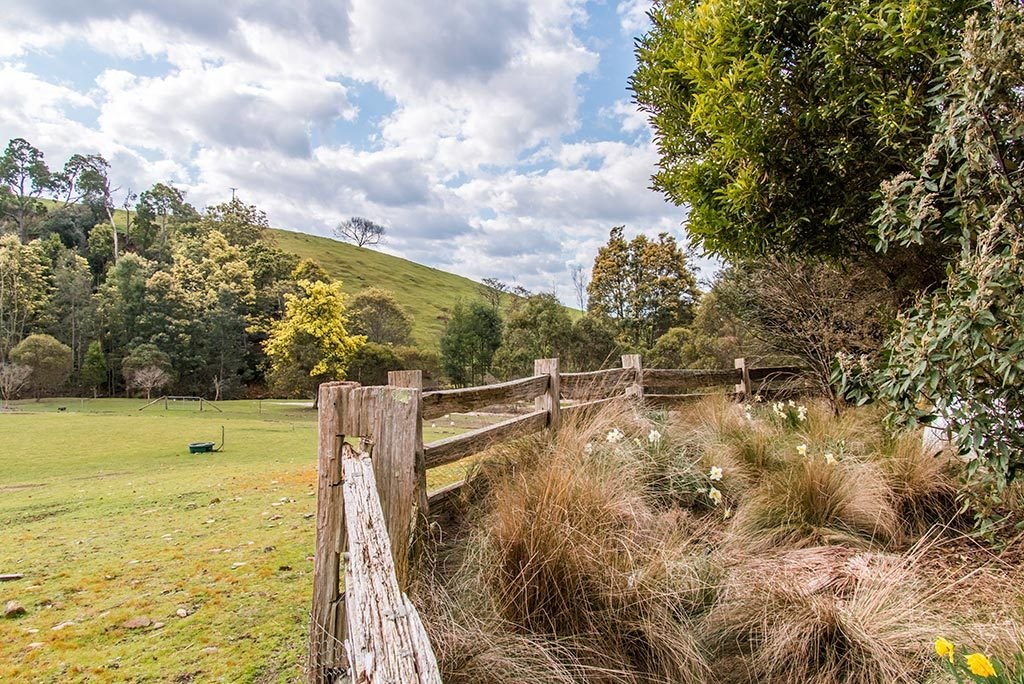 Fenced garden next to the farm paddock with view towards the river