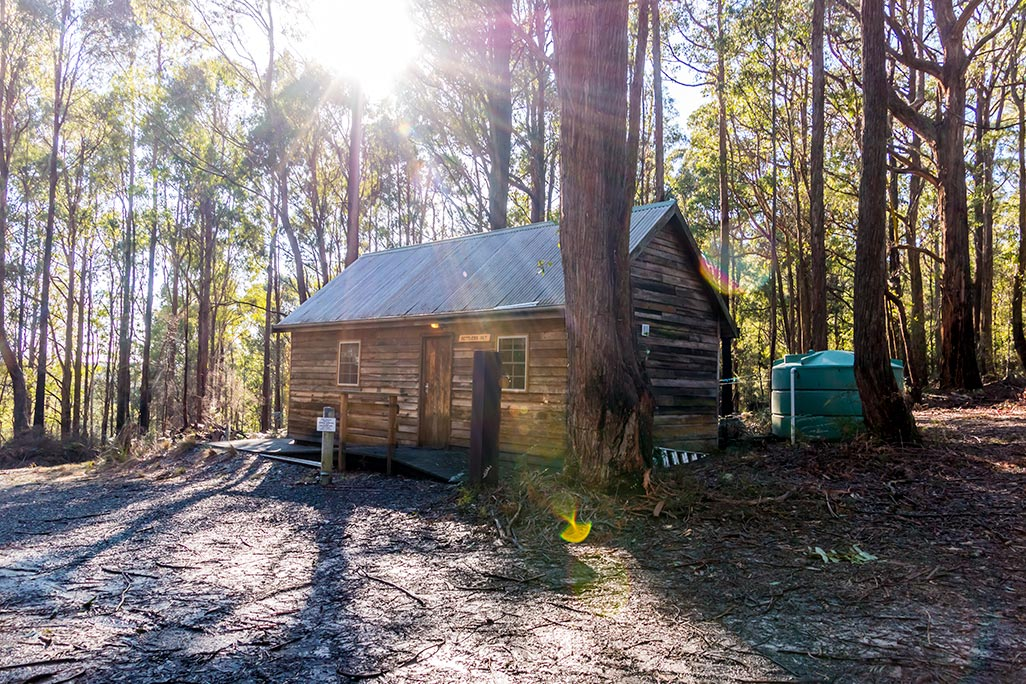 External view of the Settlers Hut in the bush at Tin Dragon Cotages in Tasmania