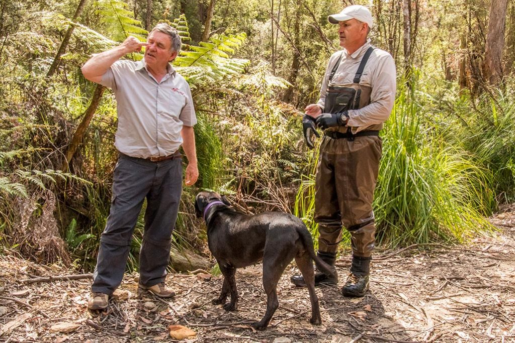 Graham chats with a prospector and his dog near the intake for the micro-hydro pipeline