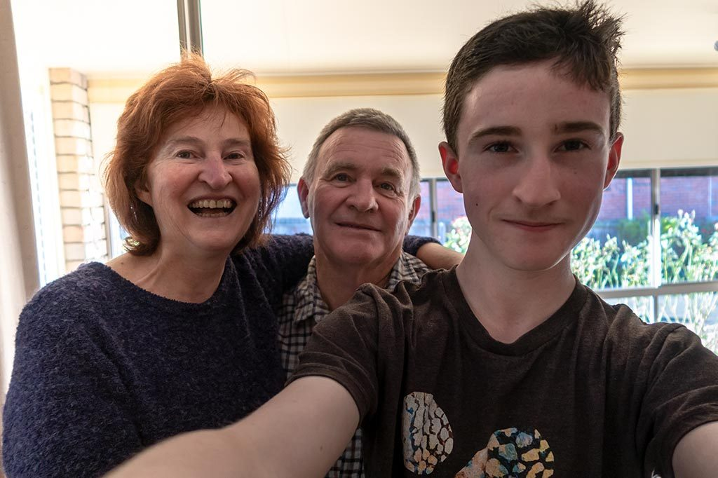 Christine, A selfie image of Graham and teenaged son James