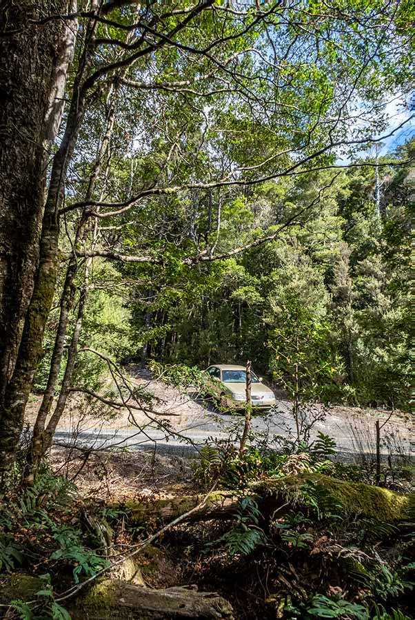 Car parked on the road near the entrance to the walk, Mout Victoria forest reserve Tasmania