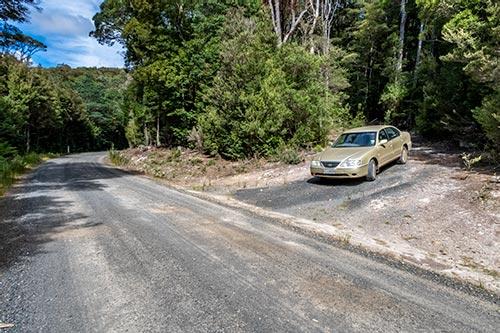 Car parked opposite the walk entrance, Rock-shelf walk, Mount Victoria Tasmania