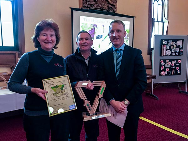 Christine and Graham with the Mayor receiving their Waste Not Award