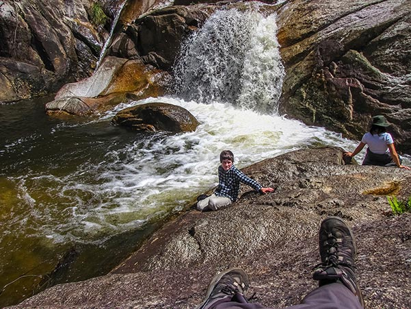 Sitting on the edge of Harridge Falls