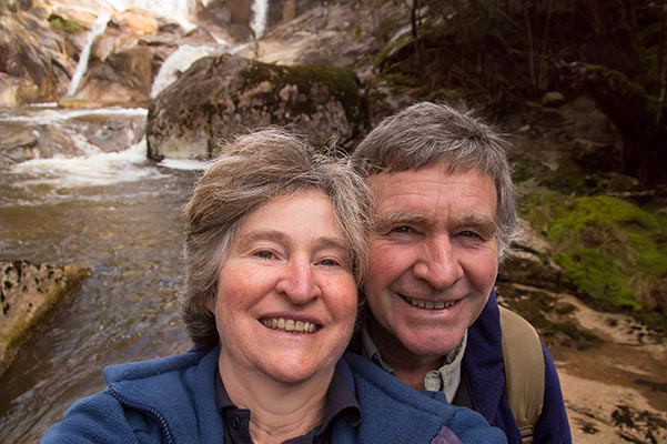 Christine and Graham in front of Harridge Falls