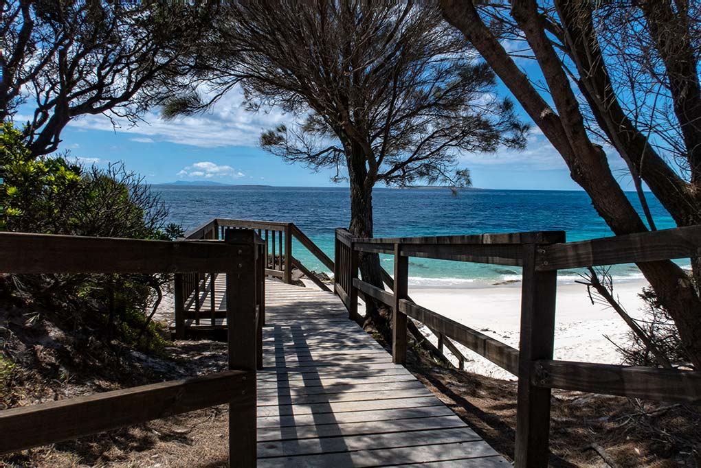 Timber walk-way to the beach at Little Musselroe Bay, North East Tasmania