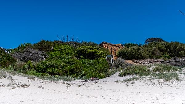Stone house behind the beach Cape Portland, Tasmania
