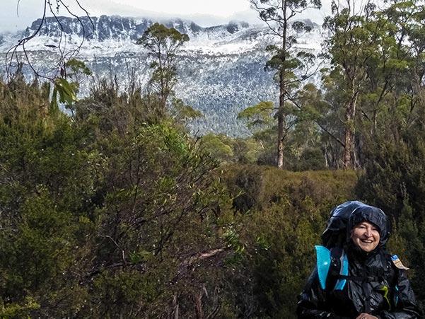Christine couldn't keep the smile off her face as she walked the snow-covered track out of Pine Valley in the Cradle Mountain-Lake St Clair National Park