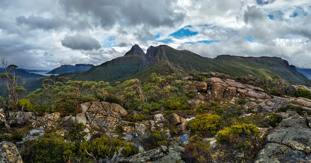 View over lake St Clair and Mt Olympus from the Labyrinth, Cradle Mountain National park