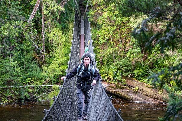 James on the swing bridge over the Franklin river in Tasmania