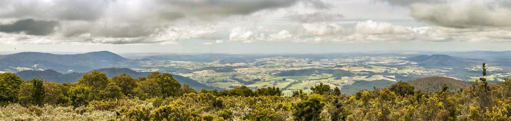 Looking our over Scottsdale from the summit of Mount Scott in North East Tasmania