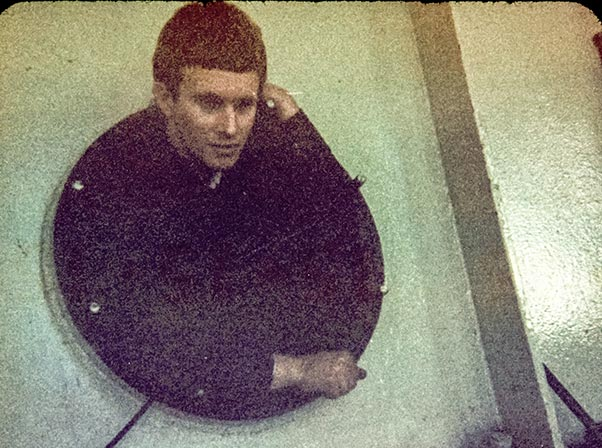 Graham photographed in mid 1960's as he was coming out of the inspection hole of a large hydro power turbine.