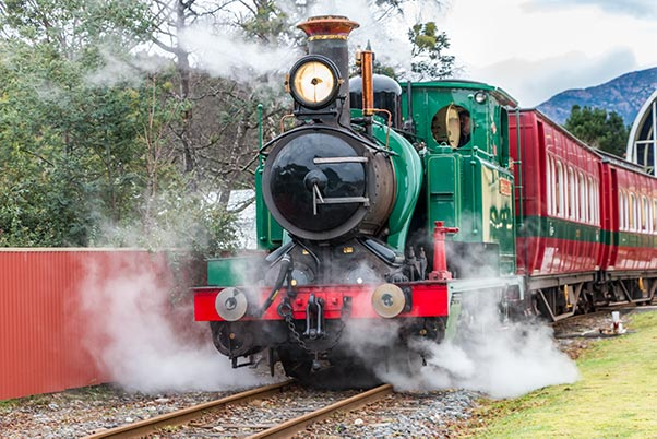 This is the steam train leaving its station in Queenstown in Tasmania