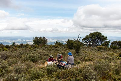 Our group enjoys a picnic on the summit of Mount Scott