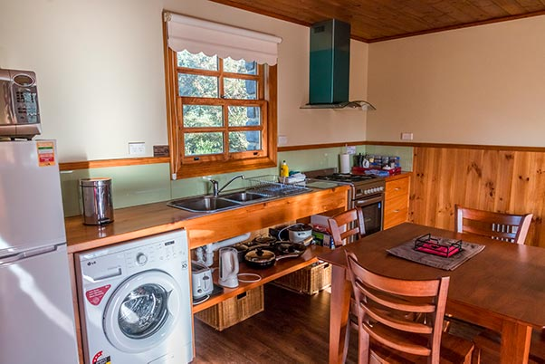 Fully self-catering kitchen in Ah Back studio spa cottage near Derby in Tasmania