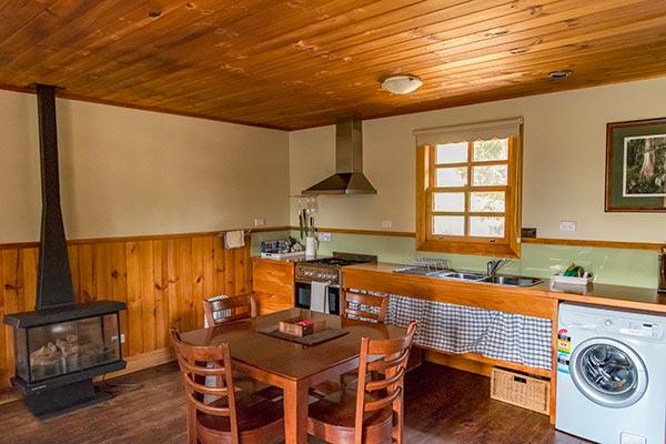 Kitchen in Fon Hock studio spa cottage accommodation near Derby in Tasmania