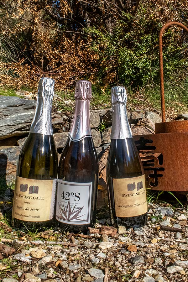 Three bottles of sparkling wines  sitting on a gravel pathway in front of a landscaped stone wall.