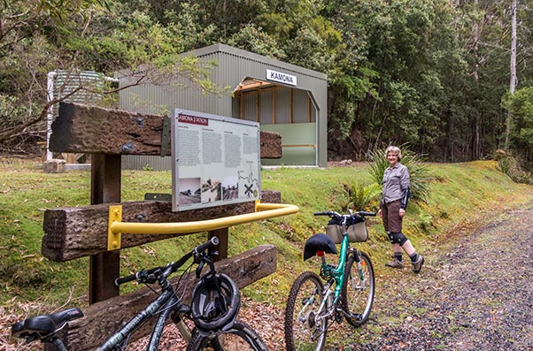 Shelter picnic shed on the North East rail trail in Tasmania