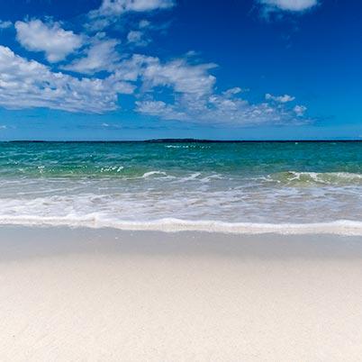 White sandy beach at Little Musselroe in North East Tasmania