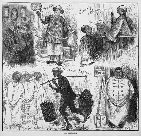 A pencil sketch of newly arrived Chinese male immigrants in 1874