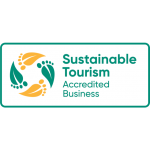 Green and gold sustainable tourism logo