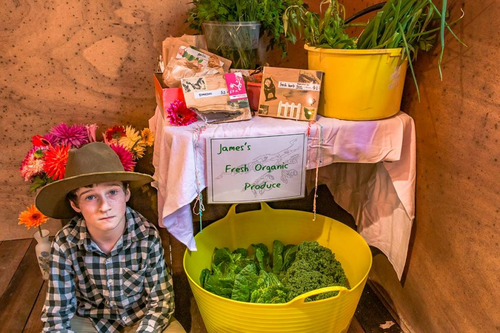Small boy sitting in front of a table with containers of fresh vegetables for sale.