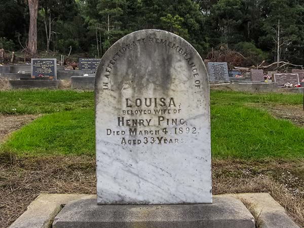 A plain headstone in the Moorina Cemetery, commemorates Louisa Ping wife of Henry Ping.
