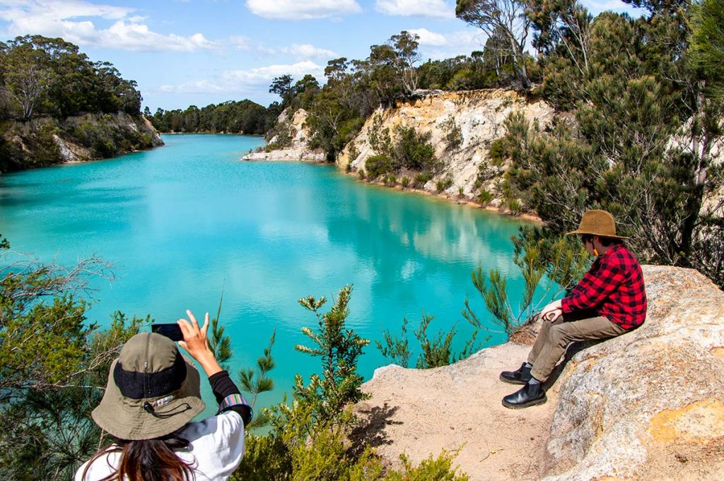 The amazing bright blue Little Blue Lake.