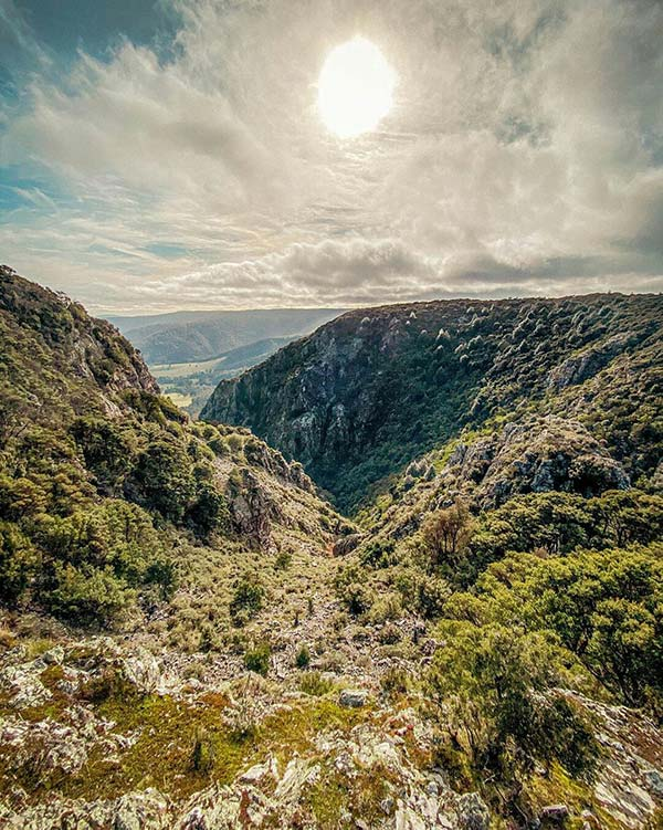 This is a view from the lookout on the Cashs Gorge walk. The view extends through the Gorge and out tom the ocean.